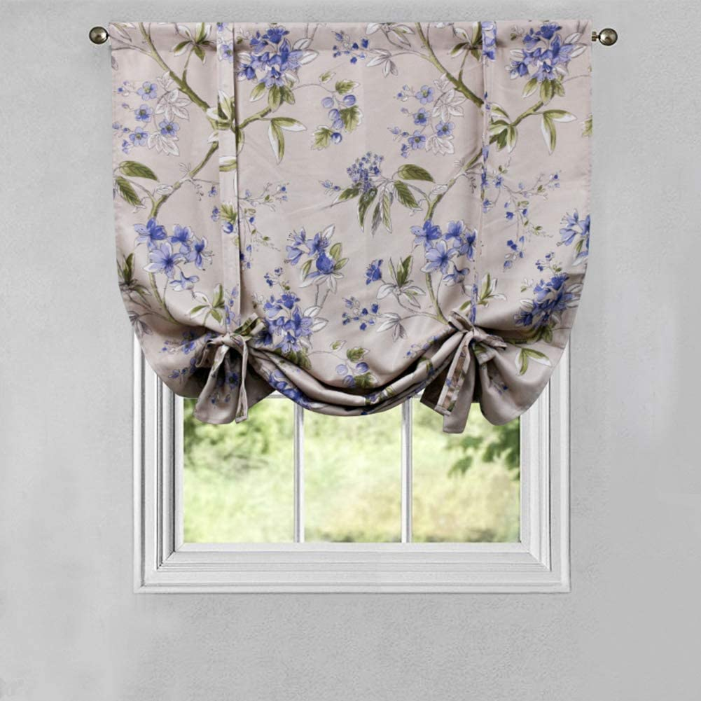 Tie Up Curtain, Vintage Floral Roman Shades For Kitchen 50