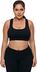 67cb2a701ea Lucklovell Women Sexy Black Plus Size Racerback U-Shaped Neck Sport Bra ((US