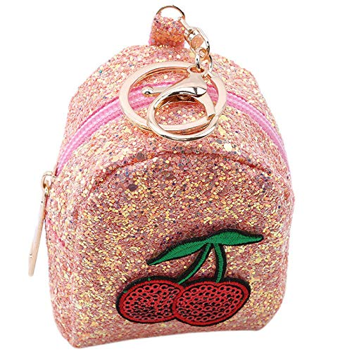 Ladies Sequins Coin Purse Keychain Cherry BlingBling Shining Sequins Small Bag (Color - Orange)