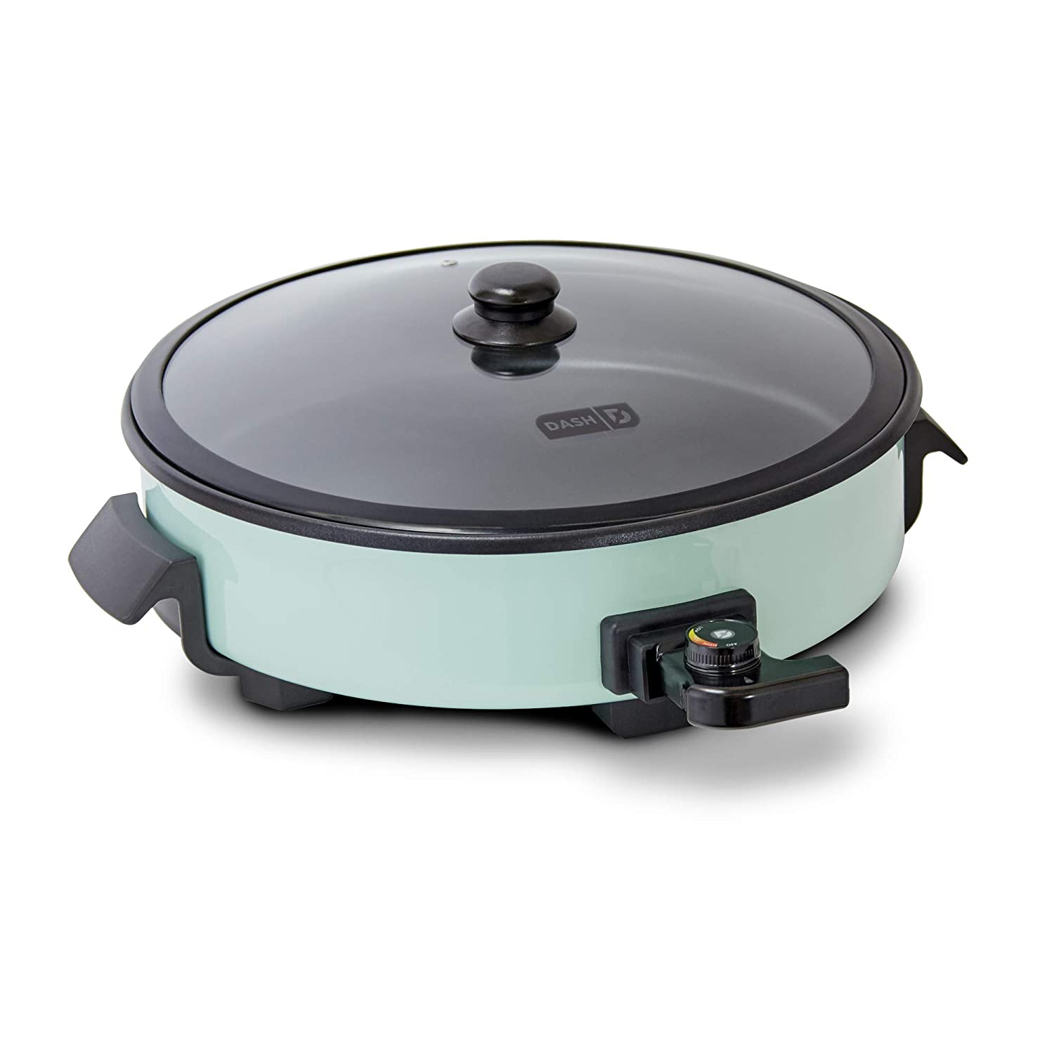 DASH DRG214AQ Family Size Rapid Heat Electric Skillet + Hot Oven Cooker with 14 inch Nonstick Surface + Recipe Book for Pizza, Burgers, Cookies, Fajitas, Breakfast & More 20 Cup Capacity Aqua