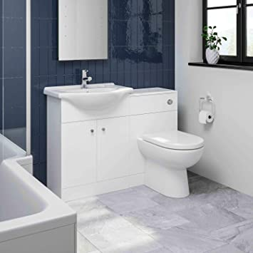 Aurora Modern Bathroom Toilet /& Basin Sink Vanity Unit 1TH Furniture 1050mm Matte White