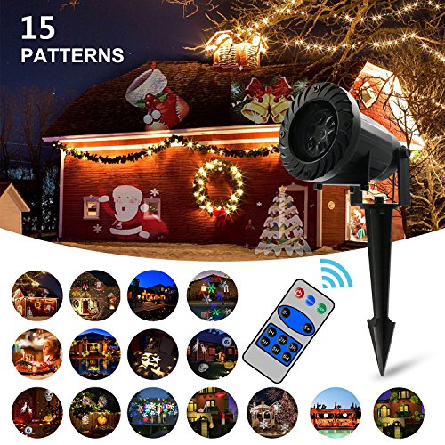 Christmas Projector Lights,LED Landscape Lights with RF Remote Control,15 Slides Dynamic Lighting for Halloween,Christmas,Mother's Day,Birthday Party,Holiday Decoration,Wedding -