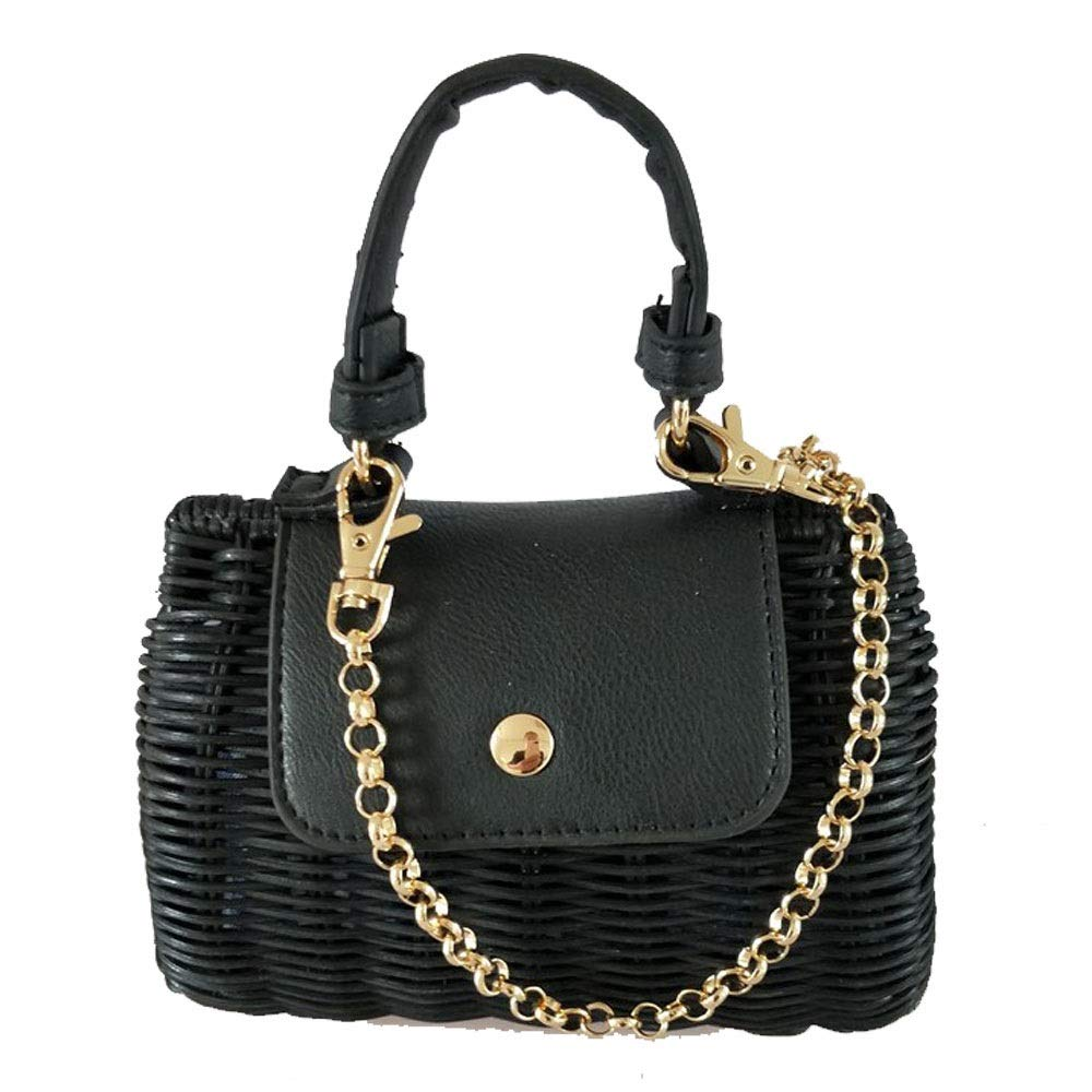 QXU-DIMDIM Leather Clamshell Wicker Woven Mini Portable Messenger Bag Practical Straw Bag Color : Beige