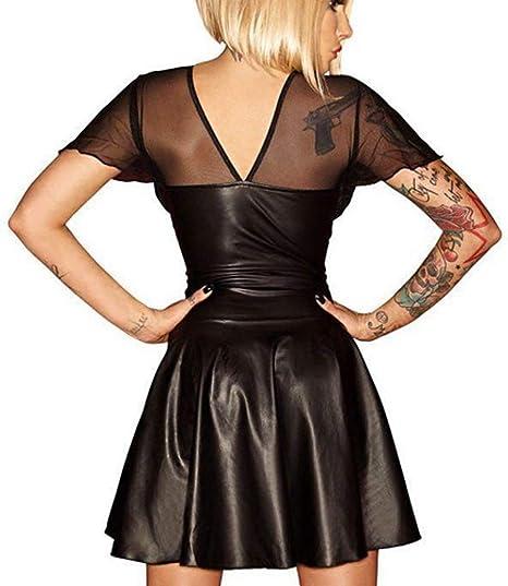 BOLAWOO-77 Damen Dessous Backless Minidress Pu Leder Für