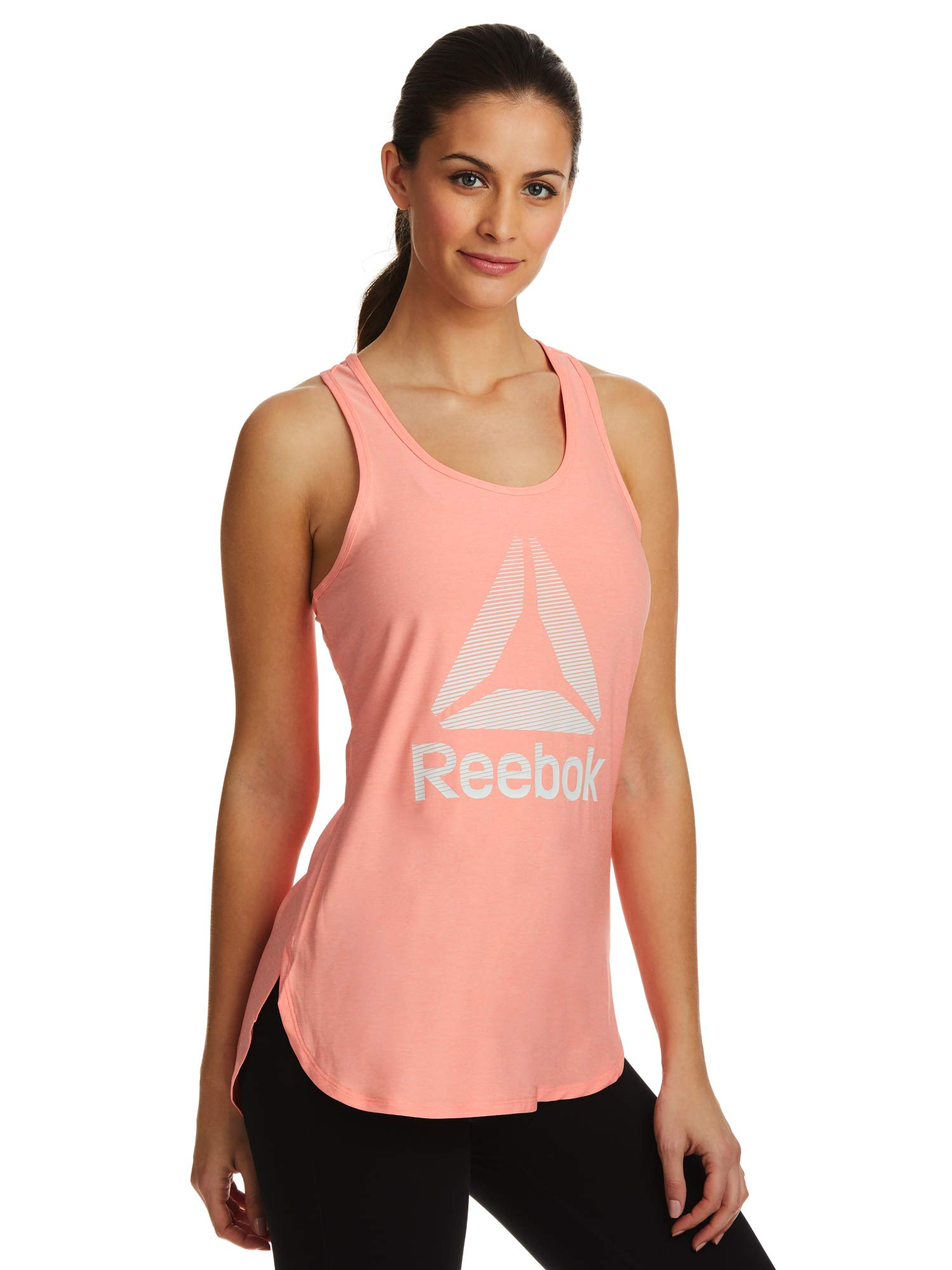 Reebok Women's Legend Performance Singlet Racerback Tank Top - Coral Pink Flare Heather, X-Small