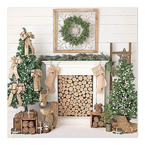 Mehofoto Christmas Fireplace Backdrop White Wood Floor Green Christmas Tree Photography Background 8x8ft Vinyl Elk Merry Christmas Indoor Decor Portrait Backdrops (Portrait Elk)
