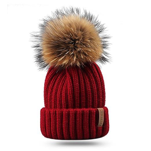 3a0c98ca1c6 Amazon.com  FURTALK Kids Winter Pom Beanie Hat Unisex Parent-Child ...
