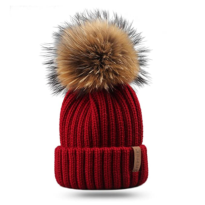 72560febada Amazon.com  FURTALK Kids Winter Pom Beanie Hat Unisex Parent-Child ...
