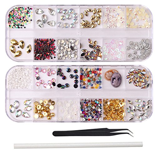 WOKOTO 2Pcs Muti Style 3D Nail Decoration Kit With Raindrop Horse Eye Shape Nail Rhinestones And Charms Fake Diamond And Glitters Metal Studs Kit With Tweezers And Picker Pencil
