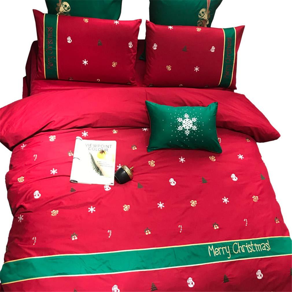 4本クリスマスレッド寝具セット3D刺繍100%コットンサンタクロース冬の寝具セットクイーン寝具掛け布団掛け布団カバーシートベッドカバー枕カバー,double Full  B07TYZBMJS