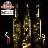 9X 20LED luce di bottiglie, ohadani bottiglia catene luci luce luce notturna luce bottiglia sughero bottiglie di vino luce LED catena luci luce bottiglie 39inch-[12pcs costi Los Batterie come regalo fai da te], Bianco caldo