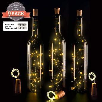 9x 20 Led Flaschen Licht Ohadani Flaschenlichter Lichterketten Kork