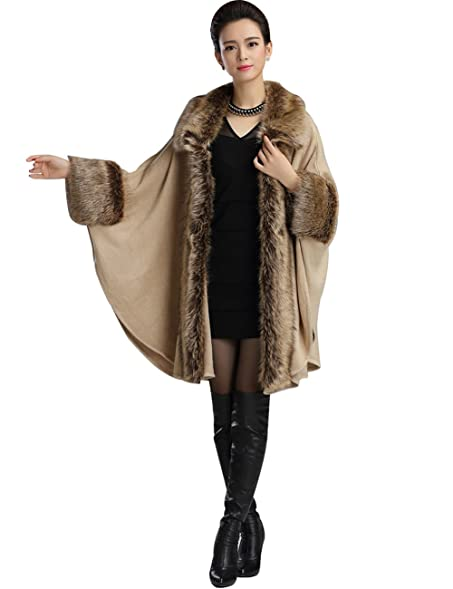 Aphratti Women's Wool Scarf Shawl Cape Coat with Luxury Faux Fox ...