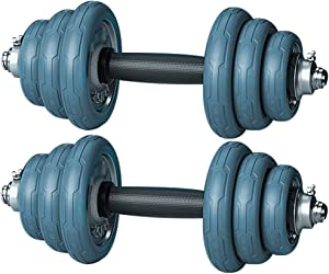 Dumbbells Fitness Dumbbells Set Multifunctional Barbell for Gym, Adjustable Home Fitness Dumbbell, Detachable Weightlifting Kit, 2 in 1, (Color : Blue, Size : 30kg)
