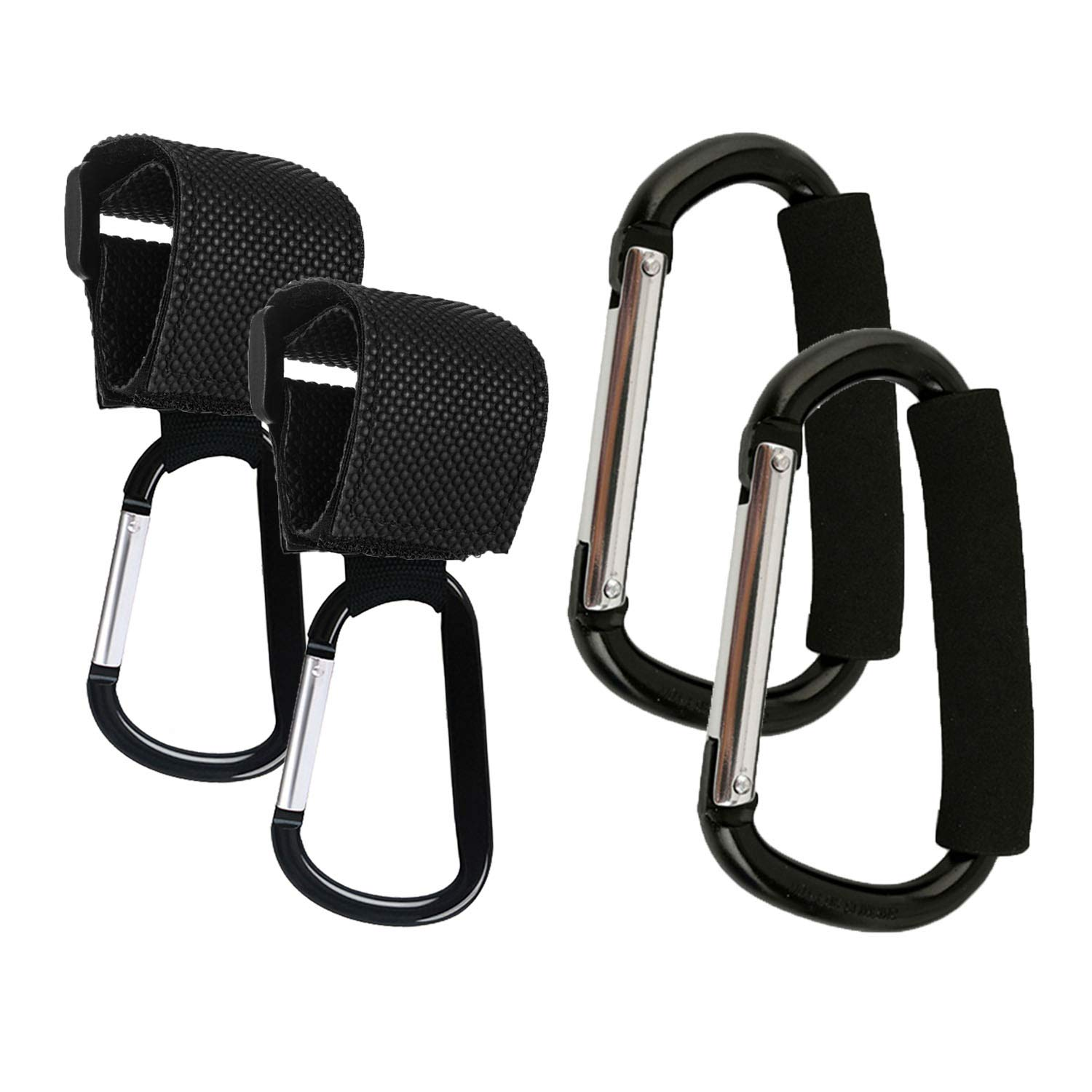Stroller Hooks, 4 Pack Strap Hooks and X-Large Stroller Organizer Hook Clip for Purse Shopping & Diaper Bags by VPAL