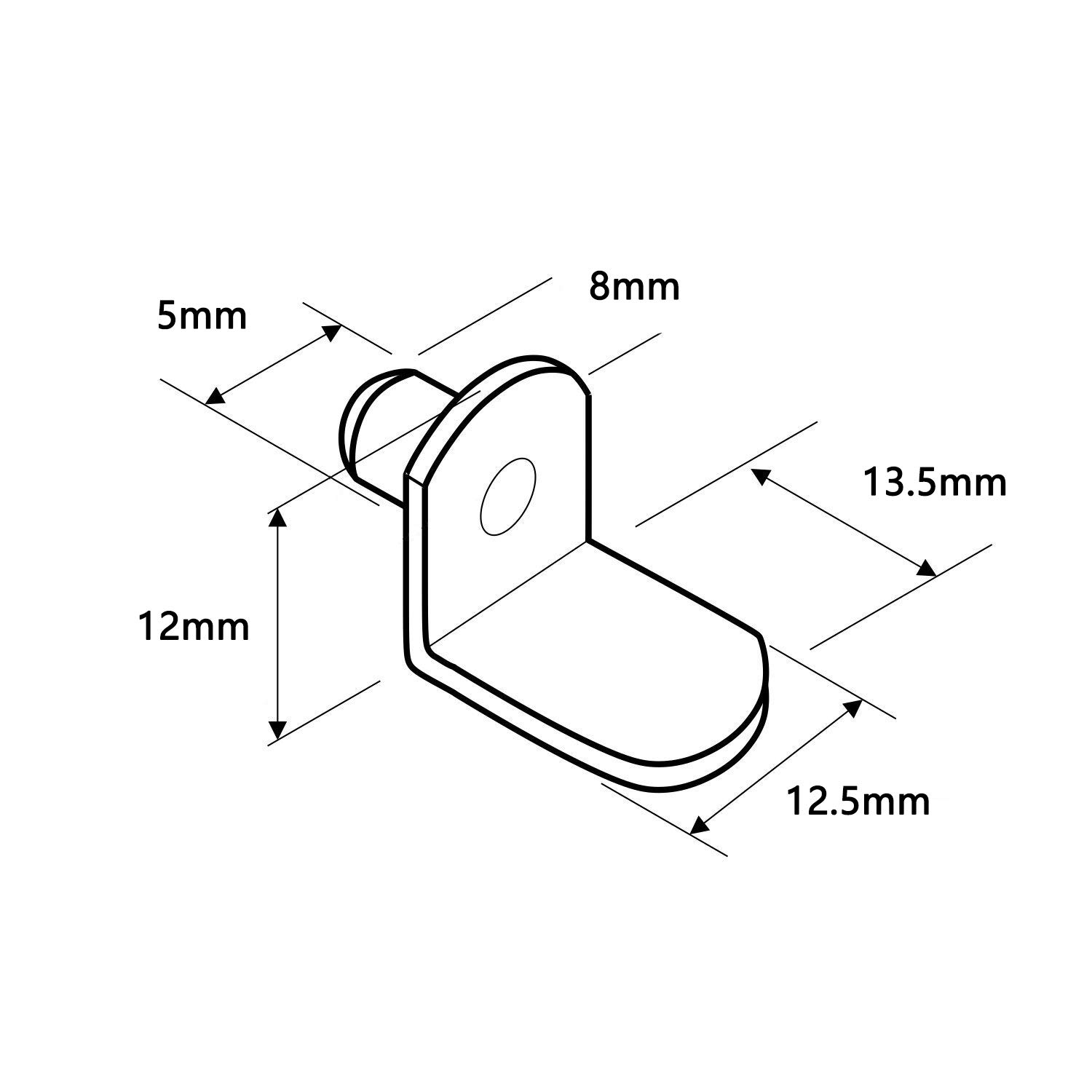 6x10mm, No Hole L-Shaped Shelf Bracket Pegs Support for Furniture Polished Nickel Karcy 100pcs Silver