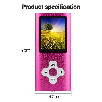 Btopllc Reproductor de MP3/MP4 con Tarjeta de 8GB,Reproductor de Música Digital, Reproductor de Música Portátil,Recargable,Grabación de Voz de ...