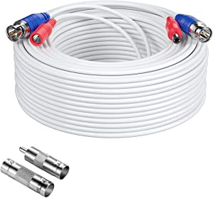 Anlapus 1 Pack 100ft BNC Vedio Power Cable, 30m Security Camera Cable Extensions for Home Surveillance Systems White (BNC Female and BNC to RCA)