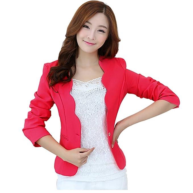 Las mujeres de moda estilo coreano de manga larga Slim traje Blazer chaqueta rosa rosa (