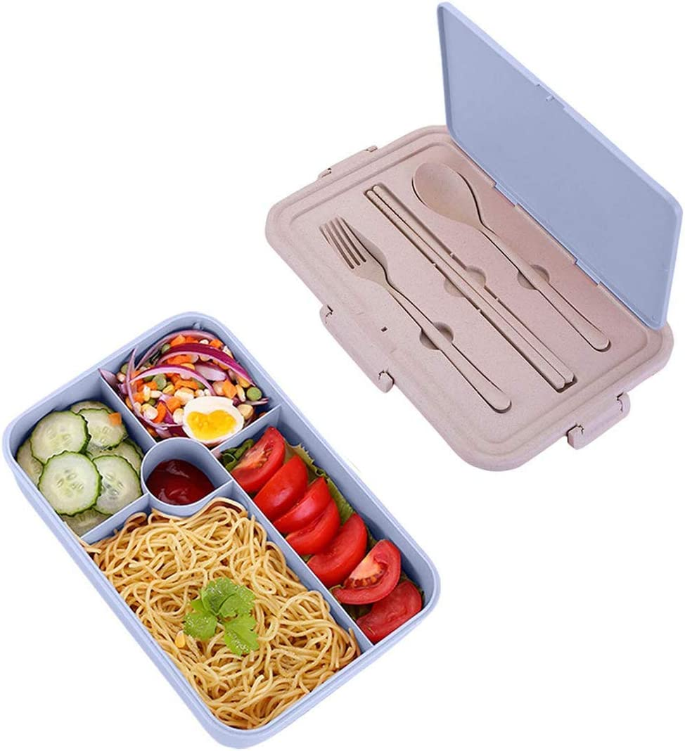 Bento Box For Kids & Adults,Bento Lunch Box With Spoon & Fork&chopsticks,Durable/Leakproof Lunch Containers,Microwave Dishwasher Safe,Wheat Fiber Blue