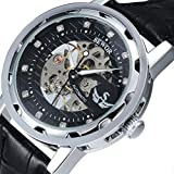 SEWOR Men's Hollow Skeleton Hand-winding Mechanical Wrist Watch With Diamonds Decoration with Box