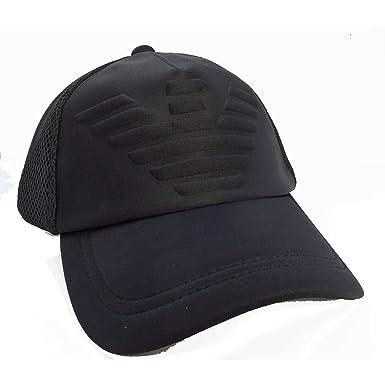 fa1120e8cb7 Armani Hommes Casquette de Baseball Logo gaufré Noir Une Taille ...