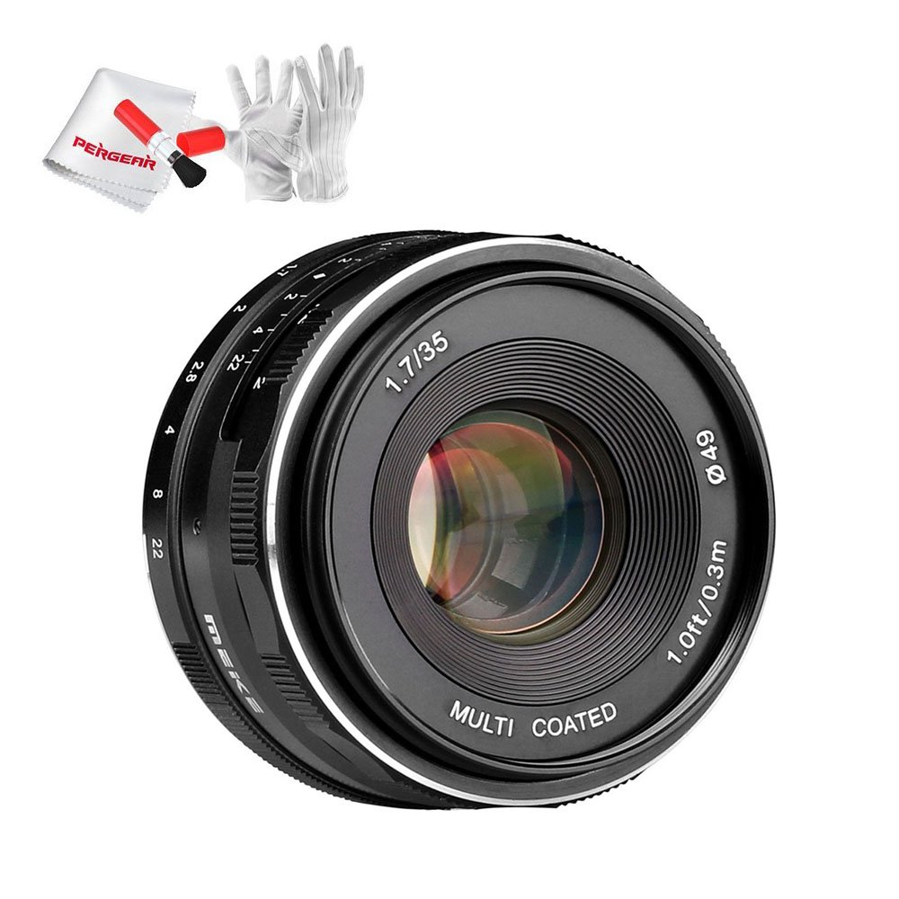 Meike 35mm f/1.7 APS-C Large Aperture Manual Focus Fixed Lens for 4/3 MFT Mount Mirrorless Cameras Olympus EM1 M5 M10 EP5 EPL3 PL5 PL6 Panasonic GM1/2 GX1/2/7/8 GF5/6/7 GH3/4 with Pergear Cleaing Kit