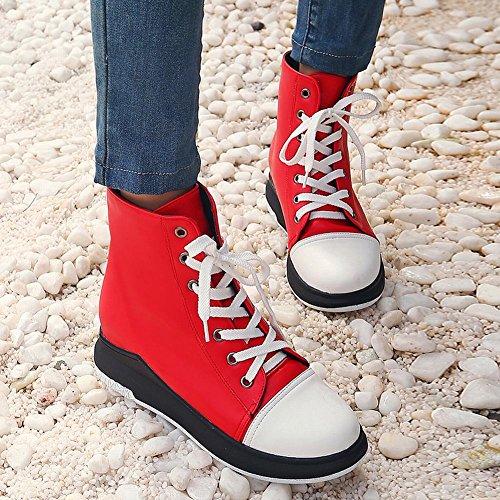Latasa Kvinna Spets-up Platta Boots Med Låg Kil Inuti Röd