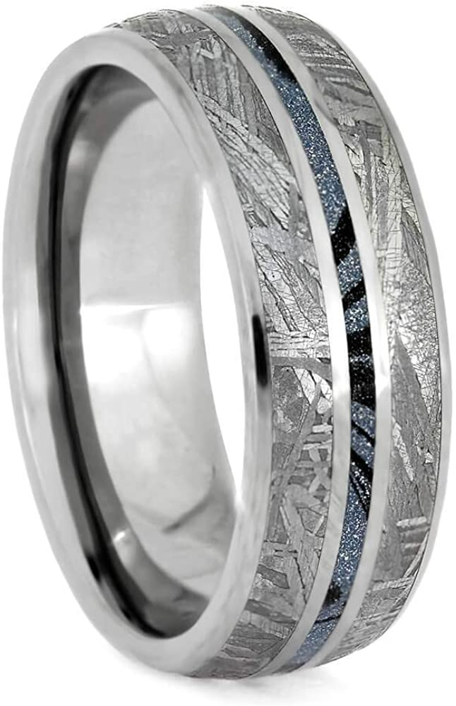 Jewelry By Johan Blue Meteorite Ring Titanium Men S Wedding Band With Mokume Gane Amazon Com