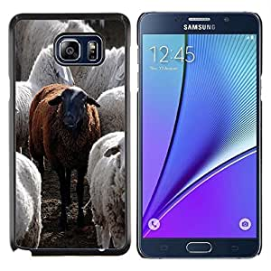 - CUTE FURRY BLACK ANIMAL FUNNY SHEEP - Caja del telšŠfono delgado Guardia Armor- For Samsung Note 5 N9200 N920 Devil Case
