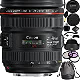 Canon EF 24-70mm f/4L IS USM Lens Bundle with Manufacturer Accessories & Accessory Kit for EOS 7D Mark II, 6D Mark II, 5D Mark IV, 5D S R, 5D S, 5D Mark III, 80D, 70D, 77D, T5, T6, T6s, T7i, SL1, SL2