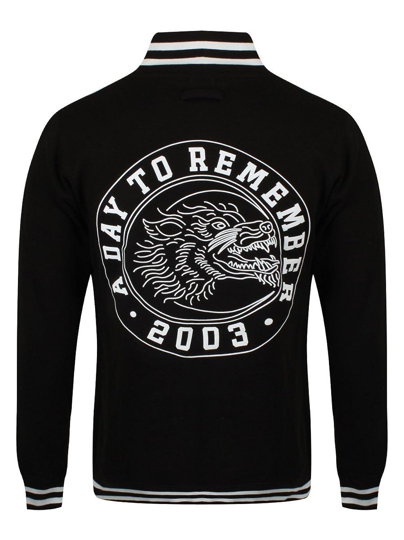 A Day To Remember Men's Wolf Baseball Varsity ADTR Jacket Black