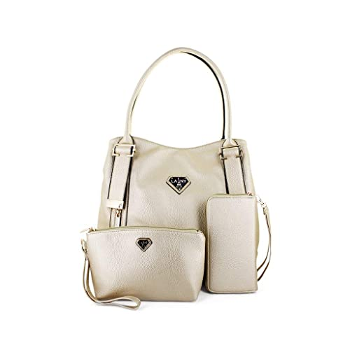 LANY Abby Dual Front Side Zips   Metal Buckle Handle Details + Makeup Pouch  + Wallet Handbag Set  Amazon.in  Shoes   Handbags 23685d0ad1e85