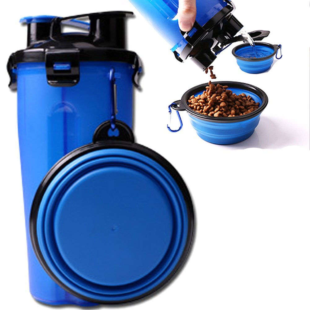ELE-Jiaruila {2 in 1 } Travel Pets Water and Food Bottle with Bowl, Water Dispenser Portable Mug for Dogs,Cats and Other Small Animals (Blue) by ELE-Jiaruila (Image #1)