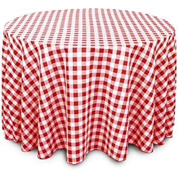 LinenTablecloth 108 Inch Round Polyester Tablecloth Red U0026 White Checker
