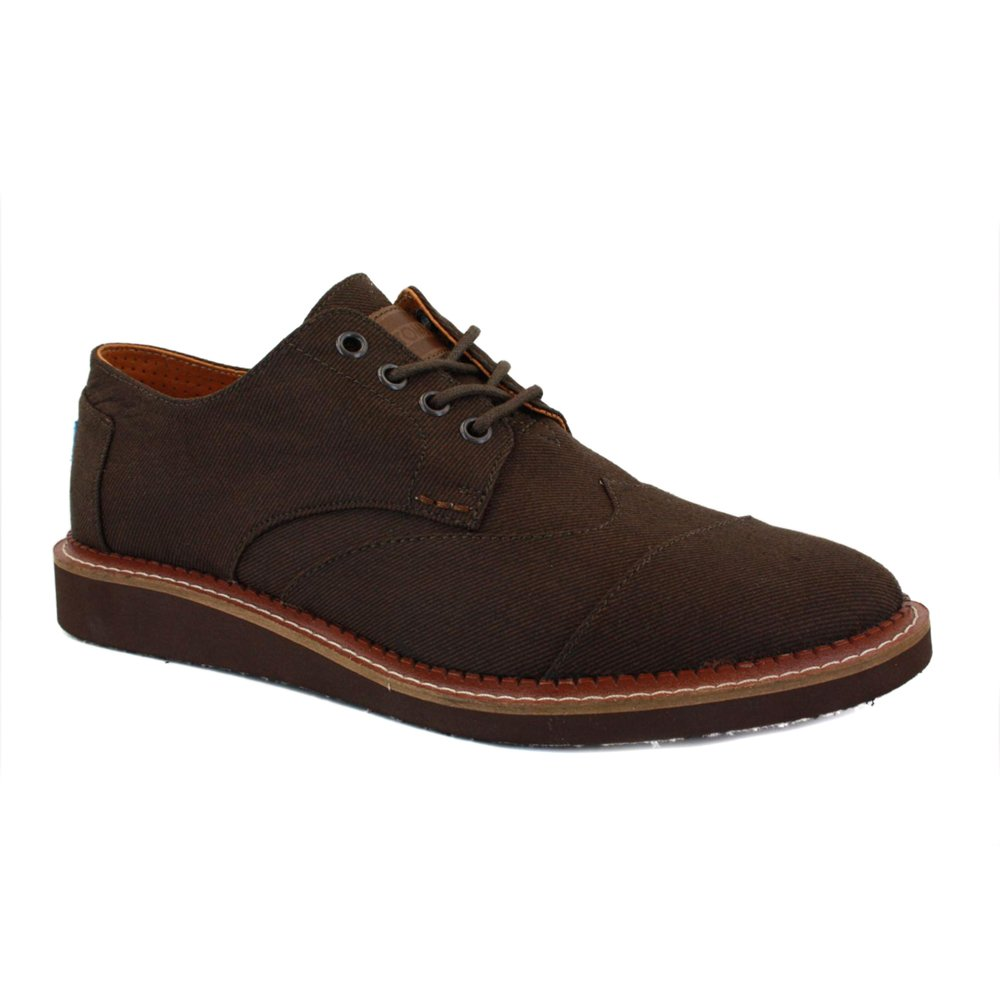 d53412b55d3 Toms Brogue Aviator Twill Mens Laced Textile Brogues Chocolate - 10   Amazon.co.uk  Shoes   Bags