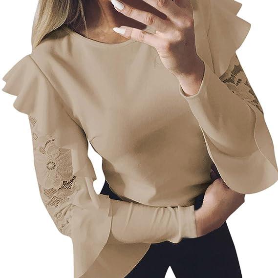 Damen Lange Ärmel T-Shirt,Plot Frauen Spitze Nähen Lotusblatt O-Kragen  Beiläufig 889d772e8f