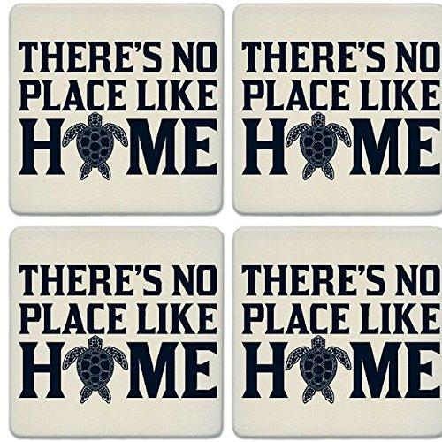CoasterStone Absorbent Coasters (Set of 4), No Place Like Home Turtle, 4-1/4