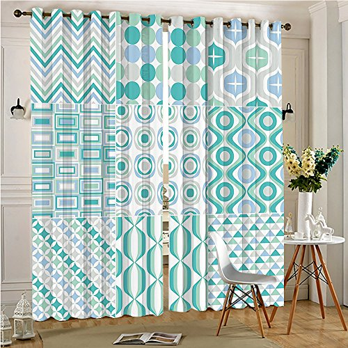 Faux Blackout Extra Long Curtains Mosaic With Shapes Stripes Patterns Colored Decorative Design Aqua Soft Blue Thermal Insulated & Room Darkening(2 Panels, 54