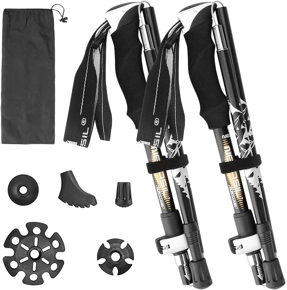 2pc Pack Collapsible Trekking Poles Lightweight /& Antishock Aluminum 7075 Walking Stick with Adjustable Quick Flip-Lock for Men Women Winkeyes Folding Hiking Poles Black
