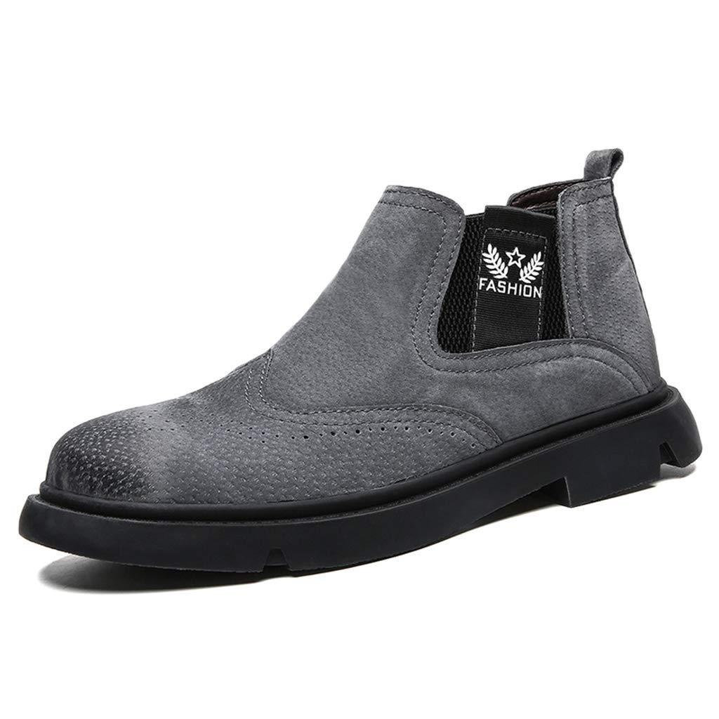 grigio Stivaletti Chelsea da uomo in pelle moda vintage punta tonda stivali autunno inverno tubo corto sautope da pioggia di grei dimensioni48