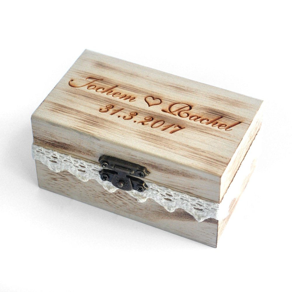 Custom Rustic Wedding Ring Box , Personalized Ring Bearer Box, Wooden Bearer Box, Wooden Box for Rings W-005