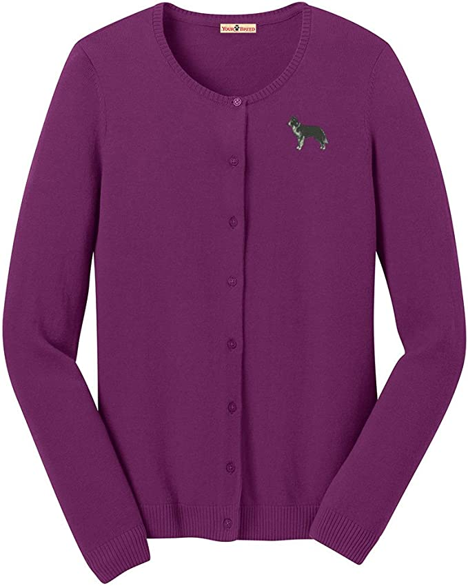 YourBreed Clothing Company Collie Embroidered Ladies Cardigan Sweater