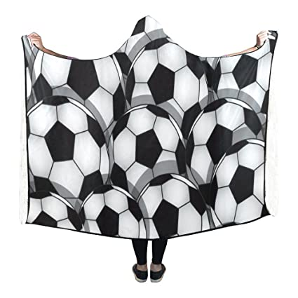 Amazon InterestPrint Fleece Hooded Blanket Black Soccer Fascinating Soccer Blankets And Throws