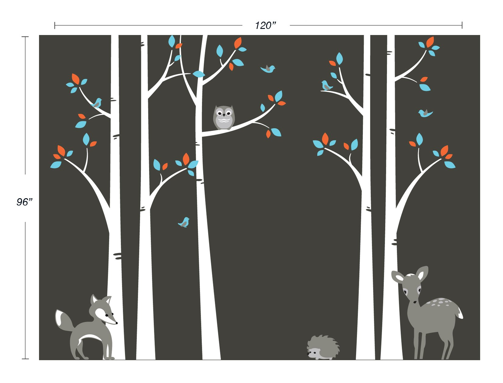 Birch Tree Wall Decals Sticker Set - Woodland Forest Decals with Fox, Owl, Deer, and Hedgehog