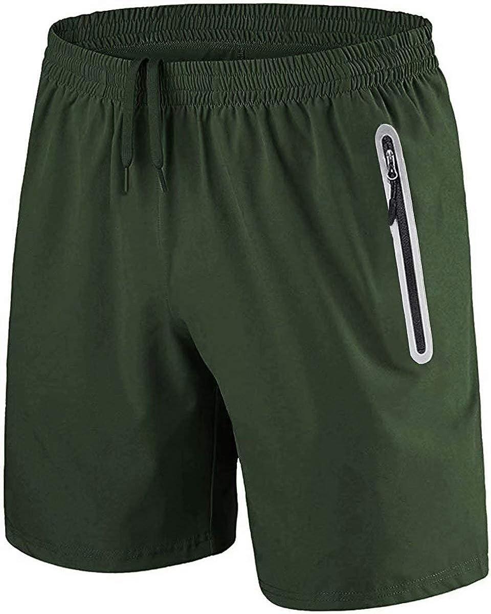 HOFIT Mens Fitness Drying Shorts Running Sports Training Shorts with Zipper Pockets