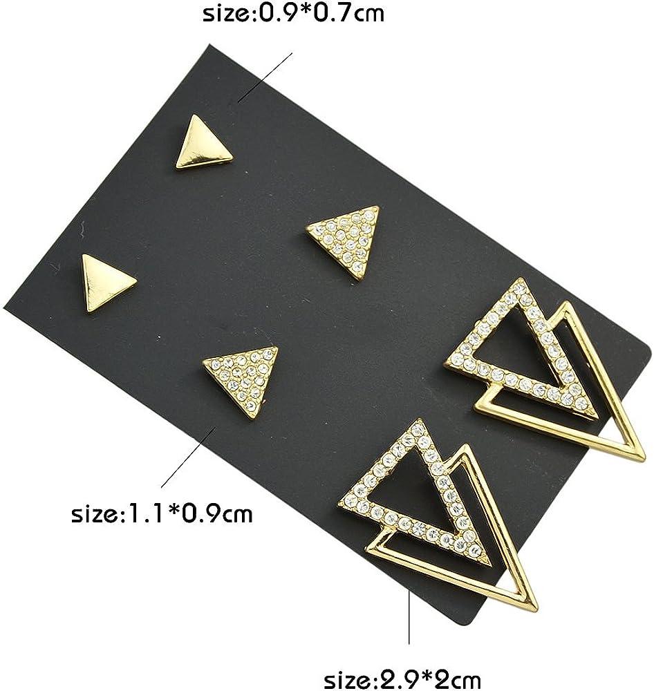 Feelontop/® Latest Design Shiny Rhinestone Triangle Shape Stud Earrings Set with Jewelry Pouch