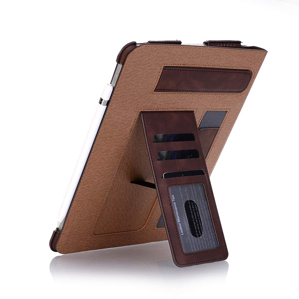 TechCode iPad Pro 11 inch Case 2018, Premium PU Leather Smart Stand Case Slim Fit Cover with Card Slots & Hand Strap(Support 2nd Gen iPad Pencil Charging) Sleeve for iPad Pro 11 inch 2018, Dark Brown by TechCode (Image #8)