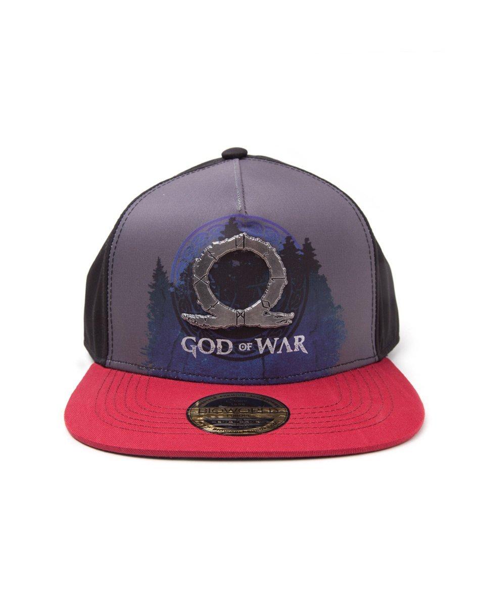God of War Cap Sublimation Print Metal Badge Snapback Black