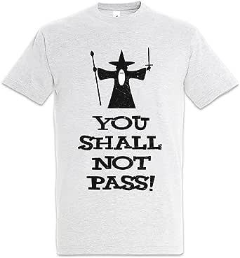 """Shirtzshop You Shall NOT Pass - Camiseta con anillos y texto en inglés """"Lord Gandalf of Herr der The Balrog Rings Frodo Moria"""""""
